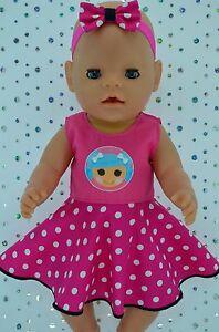"Play n Wear Doll Clothes To Fit 17"" Baby Born POLKA DOT CIRCLE DRESS~HEADBAND"