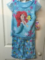 Girls Pajamas Set Ariel Size 4t Blue Short Sleeve Flame Resistant