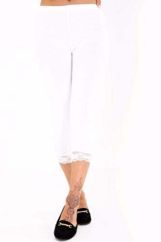 Girls Womens 3//4 Length Leggings Ladies Floral Lace Cropped Trim Edge Pants