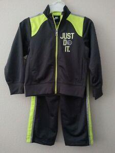NIKE Boys 2 Piece Tracksuit JUST DO IT Size 4 Jacket Pants Set Gray NWT