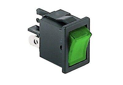Interruttore a bilanciere 220V 6A bipolare tasto verde luminoso 21x15mm 12V 6250