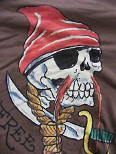 ED HARDY Pirate FREE AGENT Christian Audigier Men T-Shirt SMALL Cotton
