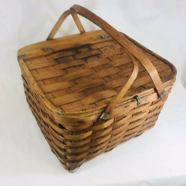 Vintage Woven Wood Picnic Basket Hinged