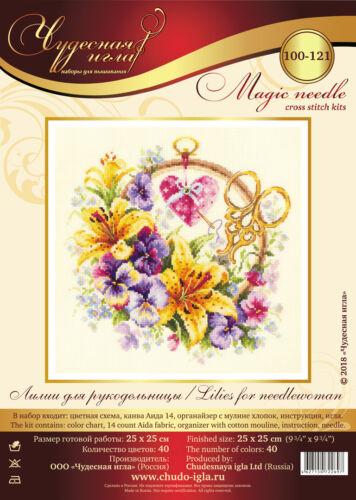 "Cross Stitch Kit MAGIC NEEDLE 100-121 /""Lilies for Needlewoman/"" WONDERFUL NEEDLE"