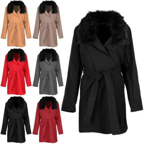 Ladies Fur Collar Duster Coat Jacket Women Open Front Cape Long Fleece Cardigan