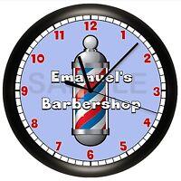 Barber Shop Wall Clock Hair Barbershop Personalized Cut Scissors Style Pole