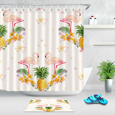 Watercolor Pineapple Bathroom Shower Curtain Waterproof Fabric w//12 Hooks new