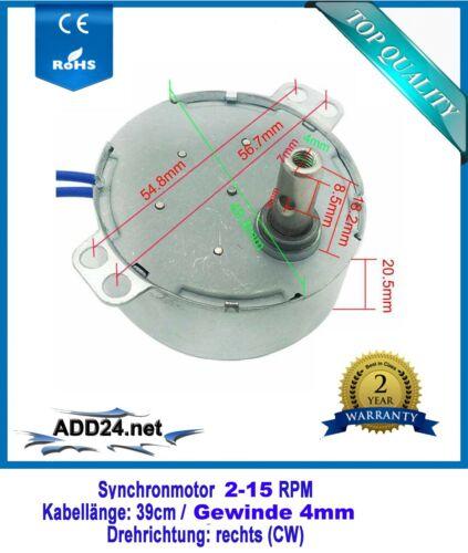 AC Motor 230V 2; 4; 10; 15 RPM// CW rechtsdrehend Synchronmotor Pyramidenmotor