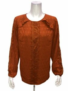 Isaac Mizrahi Women's Scoop-Neck Coupe Blouse with Lace Detail Ginger Size 8
