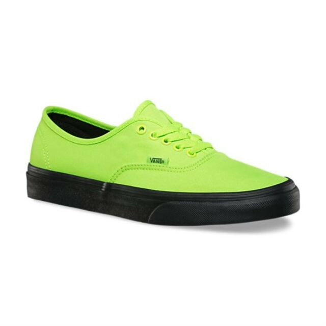 VANS Authentic (Black Outsole) Neon Green/Black VN0A348ALVX Men's Skate Shoes
