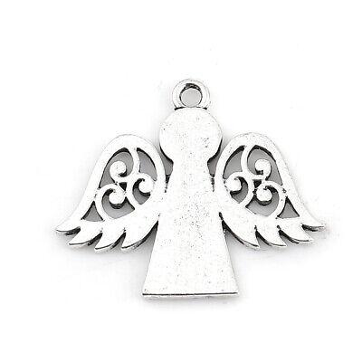 BULK BUY 25 Beautiful Dainty Antique Silver Tone Angel Pendant//Charms Free P/&P!