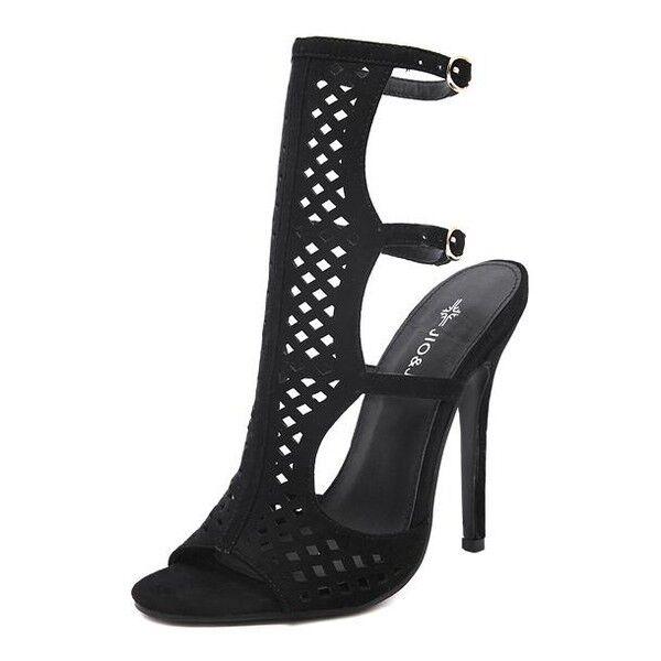 Seali eleganti tacco stiletto 11 cm nero pelle sintetica eleganti 9851