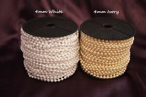 4mm bead pearl string Ivory//White