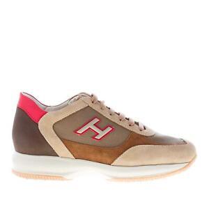 Dettagli su HOGAN scarpe uomo Sneaker Interactive beige marrone e rosso HXM00N0Q102N6Z50CE