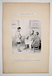 HONORE DAUMIER Lithographie Gravure CARICATURE Vin GASTRONOMIE Humour XIX°