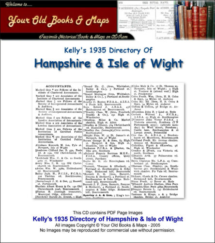 Kelly/'s Directory of Hampshire /& the Isle of Wight 1935 CDROM