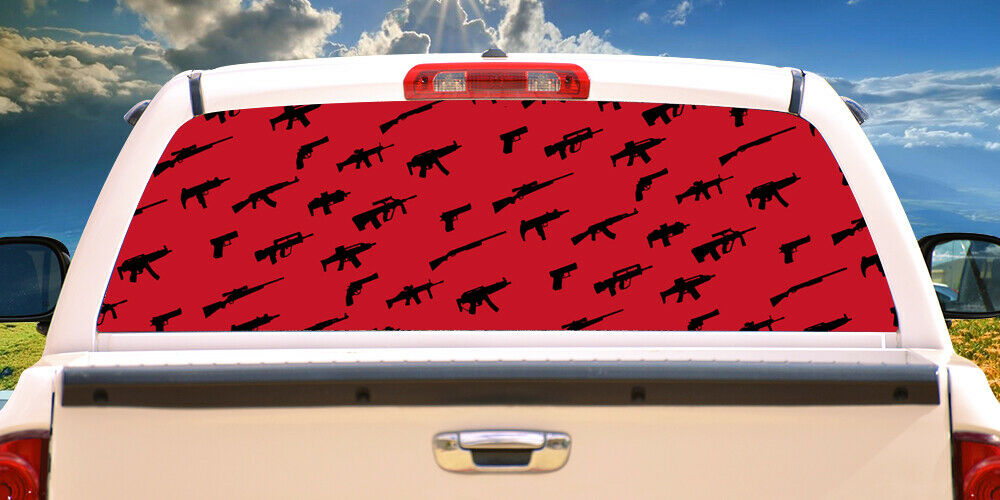 GUNS Rear Window Graphic truck view thru vinyl decal back