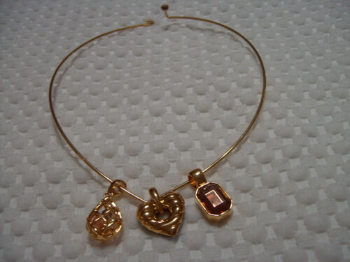 Joan Rivers Gold Wire Necklace Pearl Cage Amethyst