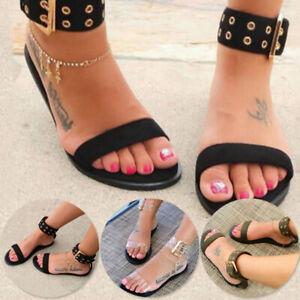 Details about Women Ladies Women Strap Sandals Roman Buckle Gladiator Clear Shoes Plus Size