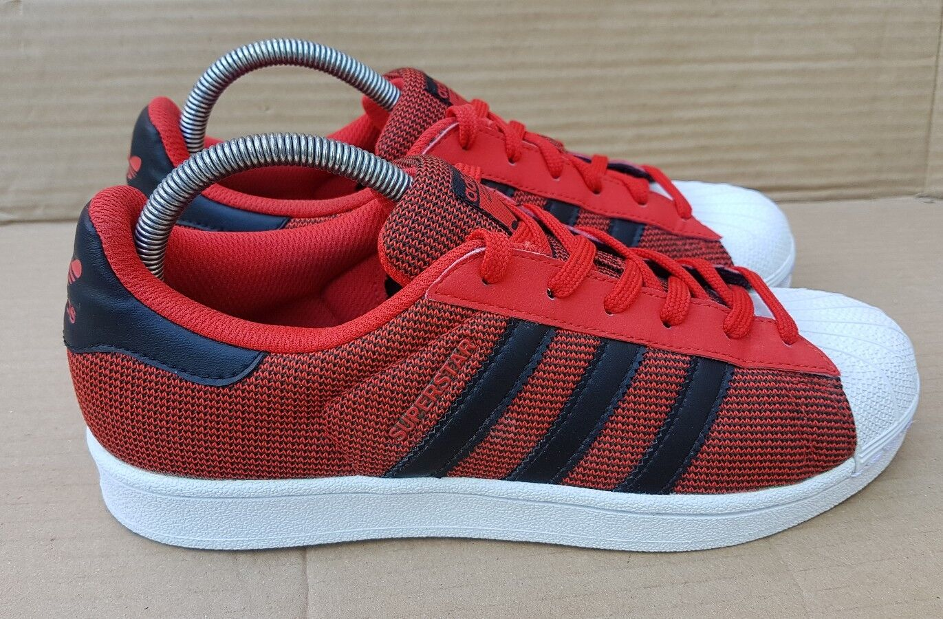 ADIDAS SUPERSTAR SHELL TOE TRAINERS TOMATO ROT WEAVE IN SIZE 6 UK EXCELLENT