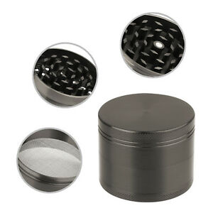 4-Piece-Magnetic-2-Inch-Gray-Tobacco-Herb-Grinder-Spice-Zinc-Alloy-With-Scoop