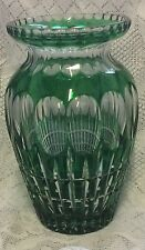 """Vintage Bohemian Czech Cut To Clear Crystal Vase Emerald Green 10.5"""""""