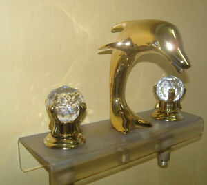 Gold clour 3 pcs widespread bathroom lav dolphin sink faucet crystal handeles ebay - Dolphin sink faucet ...