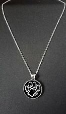"""Cat Paw Print Pendant On 18"""" Silver Plated Fine Metal Chain Necklace Gift N882"""