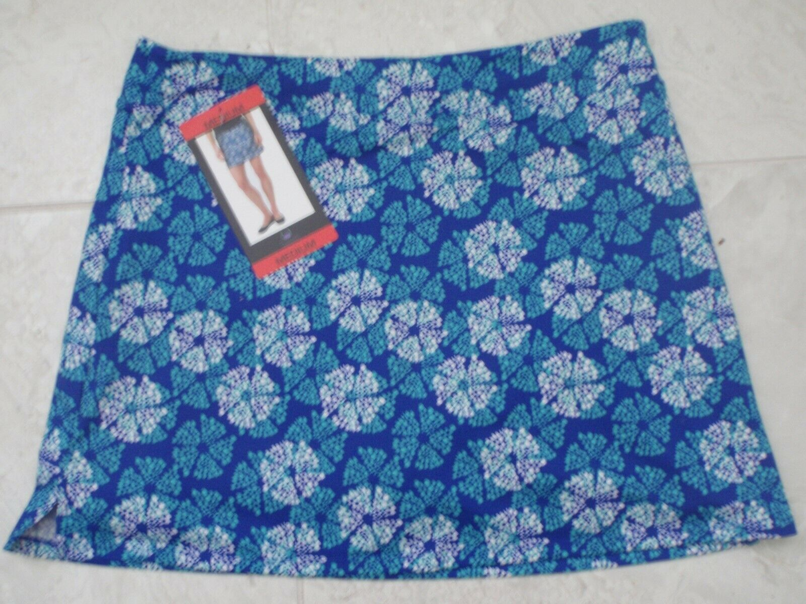 "NEW TRANQUILITY COLORADO CLOTHING YOGA GOLF SKORT SKIRT Blue ""SHIMMER"" Sz MEDIUM"