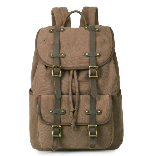 Large Canvas Backpack Rucksack Travel Bag Schoolbag Book Laptop Bag Daypack Pack