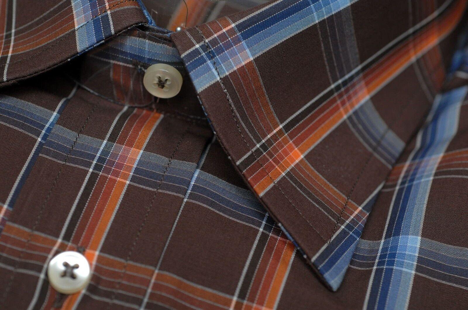 Ancona Uomo Uomo Uomo Marronee Blu & a Quadri Arancioni Made in  Camicia Casual XL 61bb2f