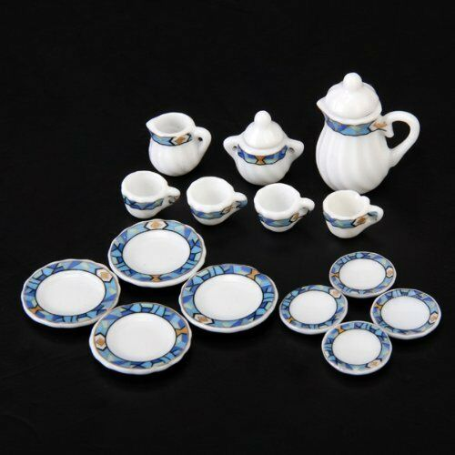 15X 1/12 Dollhouse Miniature Dining Ware Porcelain Tea Set White+Blue Puzzle T1