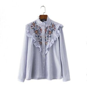 Women-vintage-floral-embroidery-striped-blue-and-white-shirt-with-ruffled-neck