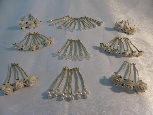 Hair flower grips ivory roses crystals pearls pack bridesmaids bride flowergirl