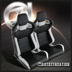 Left-Right-Reclinable-Sport-Racing-Seats-Black-White-Leather-w-Slider