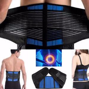 Men-Double-Pull-Back-Support-Brace-Belt-Lumbar-Lower-Waist-Adjustment-Corrector