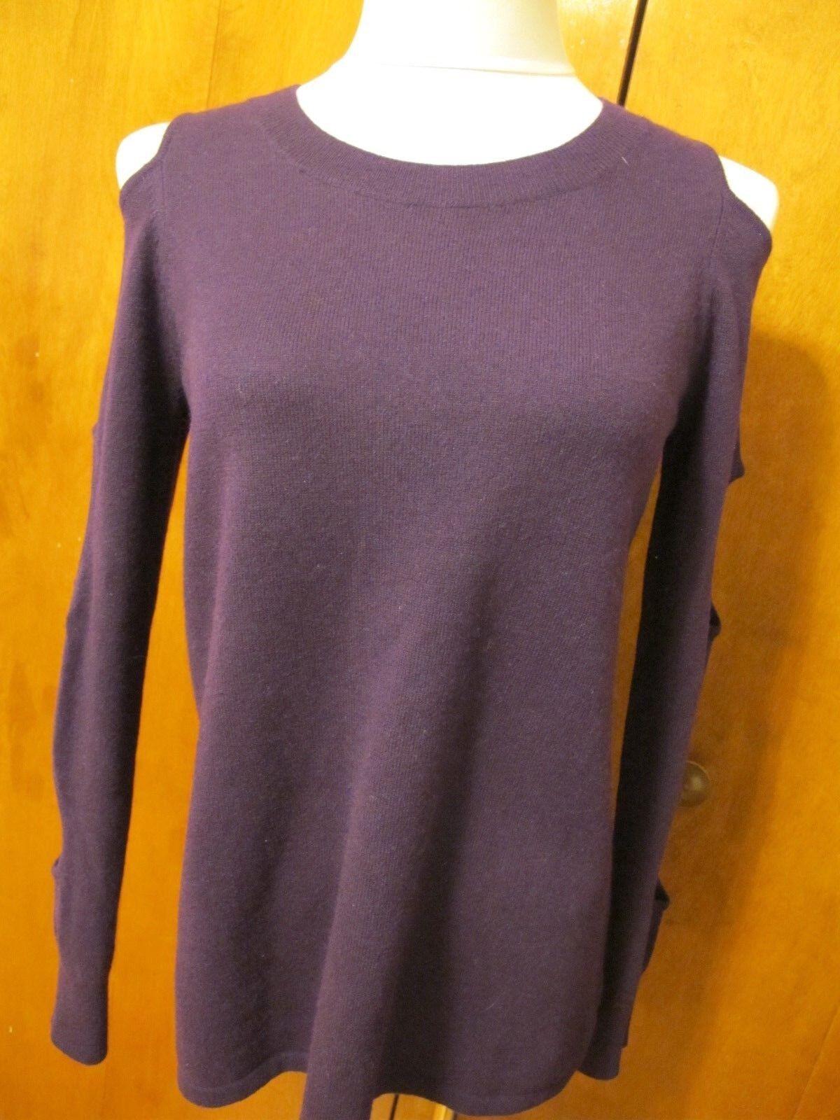 Aqua Women's Purple Amethyst Cashmere Soft Cold-Shoulder Sweater XS S NWT