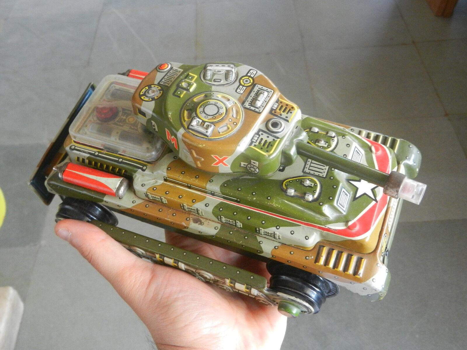 Vintage MX T.n marca Tanque De Guerra Militar De Batería Juguete de hojalata, Japón