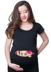 Peeking Baby Girl pregnancy Maternity Tee Shirt Gift pink girl t-shirt