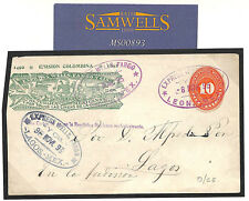 MS893 1893 MEXICO WELLS FARGO Postal Stationery *Leon* EXPRESS *Lagos* Cover