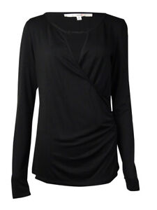 Studio-M-Women-039-s-Keyhole-Ruched-Long-Sleeve-Top-M-Black