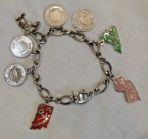 Vintage-Sterling-Silver-Charm-Bracelet-with-Eight-8-Charms