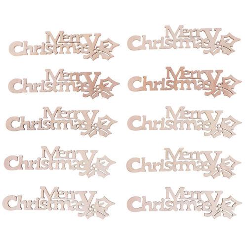 10Pcs DIY Wooden Letters Merry Christmas Crafts Embellishment Home Xmas De tiTEU