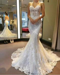 1285616115713 Image is loading Gorgeous-Lace-Appliques-Mermaid-Wedding-Dress-White-Ivory-
