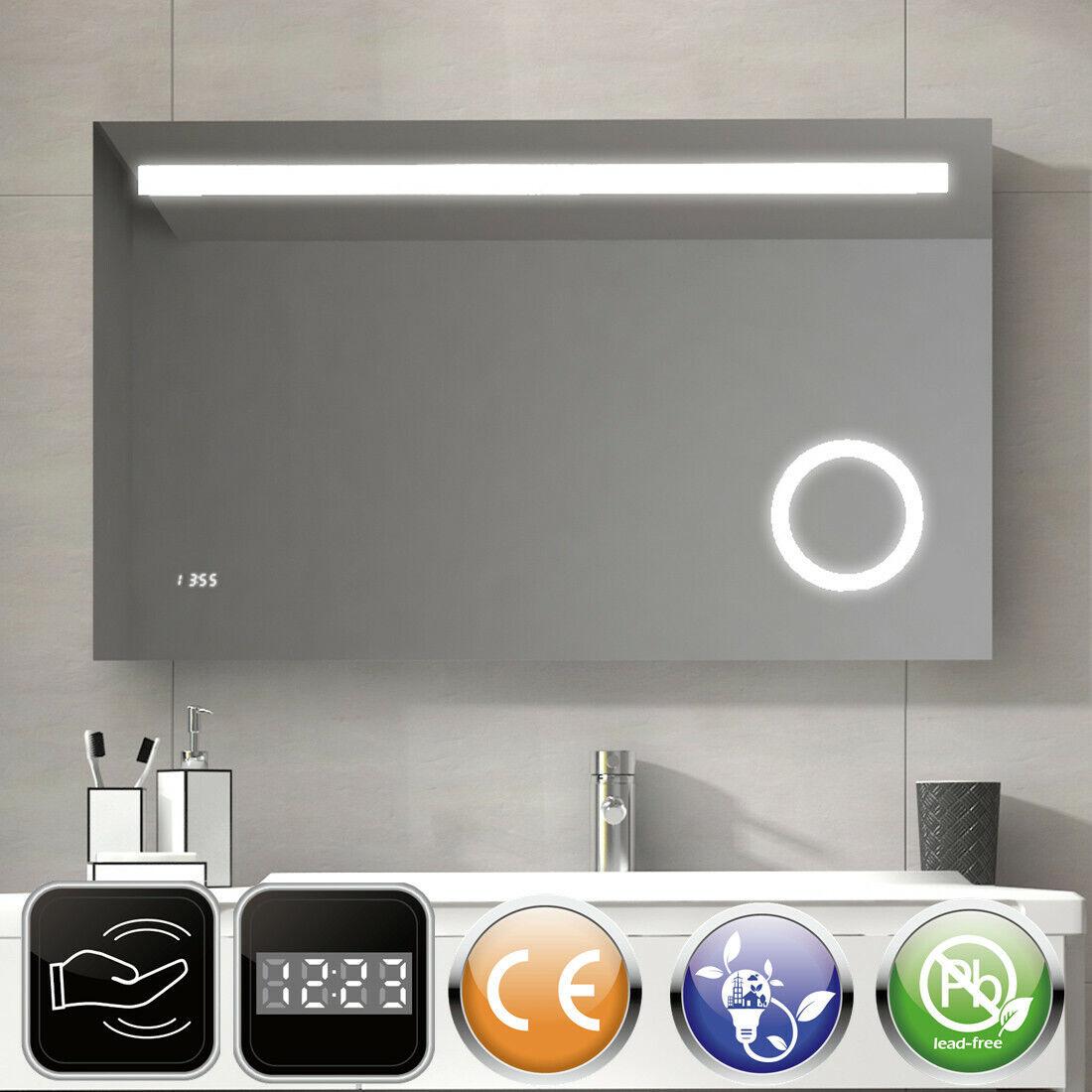LED Badspiegel Lichtspiegel Spiegel mit Beleuchtung mit Sensor Uhr 80x60 100x60