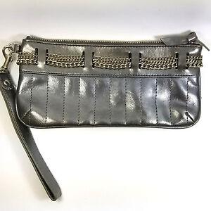 Express-Wristlet-Gray-Leather-Chain-Zipper-Closure-Clutch-Bag-Purse-Black