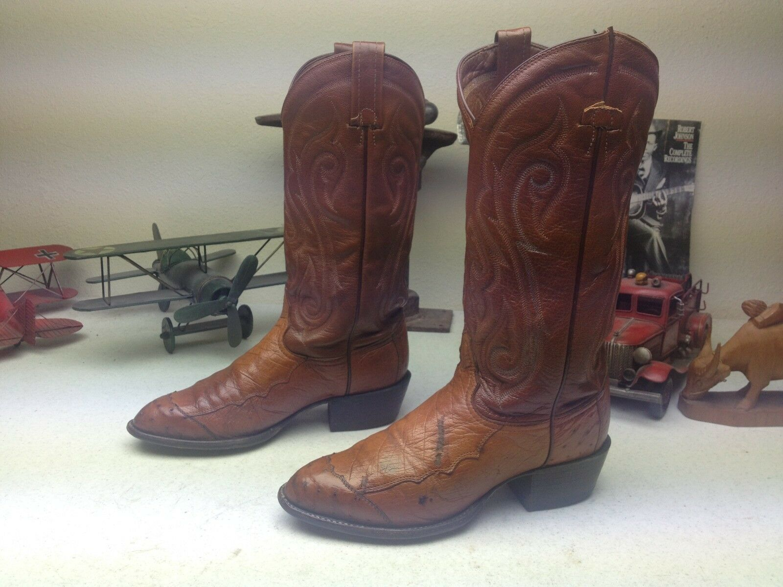 DISTRESSED OSTRICH TONY LAMA ENGINEER TRAIL BOSS OLD RANCH WORK BOOTS 6.5 C