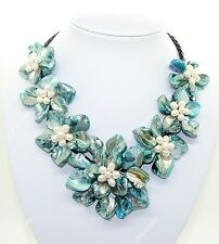 """Natural Blue Mop Shell Pearl Weave 7 Flowers Pendant Necklace 18"""""""