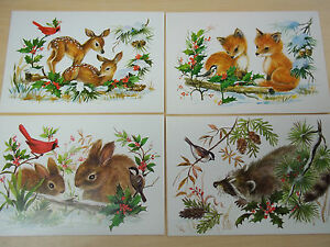 Wildlife Christmas Cards.Details About Lot 4 Vintage Nature Wildlife Christmas Cards Sunshine Mint