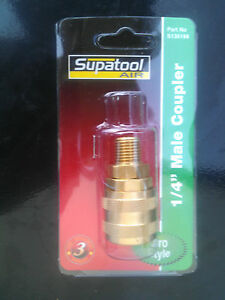 "Pneumatic AIR Brass fitting BSP 1//4/"" male coupler Jamec Style Supatool S130124"